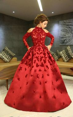 Beautiful gown thick red satin with red velvet flowers Stylish Dresses, Elegant Dresses, Nice Dresses, Fashion Dresses, Western Dresses, Indian Dresses, Reception Gown, Prom Dresses With Sleeves, Beautiful Gowns