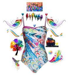 """Rainbow dreamz"" by brooklynjadetoni ❤ liked on Polyvore featuring art"