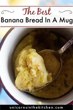 Craving banana bread but don't want to make a loaf? Try this banana bread in a mug! Easy, quick and ready in one minute in the microwave. This easy banana bread is just the perfect middnight snack! Microwave Banana Bread, Banana Bread Mug, Banana Bread Recipes, Microwave Food, Microwave Recipes, Easy Desserts, Dessert Recipes, Breakfast Recipes, Quick Easy Meals