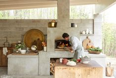 Camp Here Here in the Catskills - The restaurant has a wood-burning pizza oven and is run by chef Philip Kubaczek, who grew up in Eur - The Woodhouse, Myconos, Pizza Oven Outdoor, Rustic Luxe, Outdoor Restaurant, Open Kitchen Restaurant, Outdoor Kitchen Design, Small Outdoor Kitchens, Restaurant Design