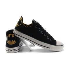 Classic Black Converse Batman Chuck Taylor DC Comics Low Top Canvas... ❤ liked on Polyvore featuring shoes, sneakers, black low tops, low profile shoes, black trainers, black low top sneakers and kohl shoes