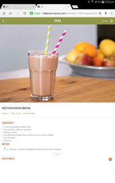 Smoothie Drinks, Smoothie Recipes, Diet Recipes, Smoothies, Cooking Recipes, Healthy Recipes, 28 By Sam Wood, Good Food, Yummy Food