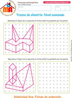 Trazos de simetría: Nivel avanzado 12 Symmetry Worksheets, Preschool Worksheets, Visual Perceptual Activities, Pre Writing, Math For Kids, Card Patterns, Technical Drawing, Drawing Lessons, Drawing For Kids