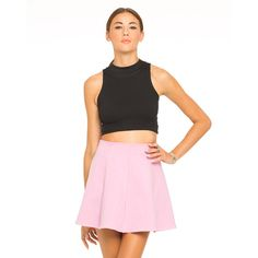 Motel Isobelle Skater Skirt in Pink (£15) via Polyvore featuring skirts, mini skirts, pink, high waisted circle skirt, high waisted skater skirt, high waisted skirts, mini skirt and pink skirt
