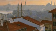 """""""Rooftops"""", 2009, oil on linen, 6"""" x 10.5"""",SOLD"""