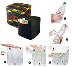 SILLON DE BOTELLA materiales: botellas plasticas, tape y tela  Seguir instrucciones del diagrama, de tener alguna duda favor de comentar