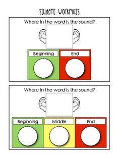 "Sample student work mat from ""Phonemic Awareness Fun! Reading Activities, Reading Skills, Literacy Activities, Teaching Reading, Guided Reading, Learning, Teaching Phonics, Kindergarten Literacy, Early Literacy"