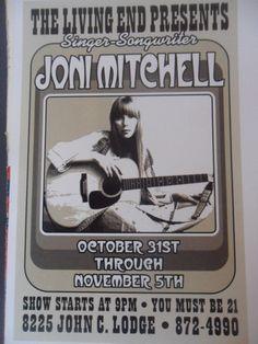 Joni Mitchell 1967 Matted Mini Gig Poster The Living End Detroit   eBay