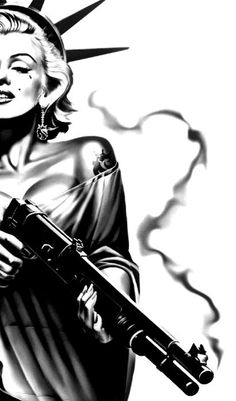 Marilyn Monroe as the Lady Liberty with a big barrel and a arm tat. Marilyn Monroe Kunst, Marylin Monroe, Pin Up, Widder Tattoo, Arte Hip Hop, Black And White Wallpaper, Arte Pop, Dope Art, Geek Girls