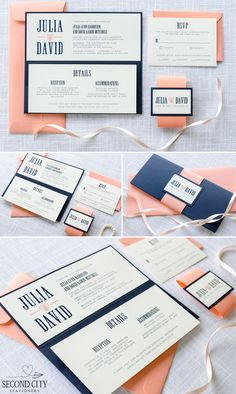 Navy Blue, Coral, and Ivory Wedding Invitation with Pocketfold and Thumbprint Heart Design - by Second City Stationery