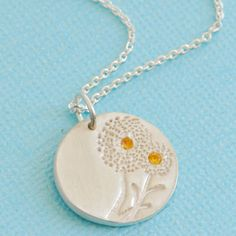 WEED BIRTHSTONE DANDELION necklace by ChocolateAndSteel on Etsy, $56.00