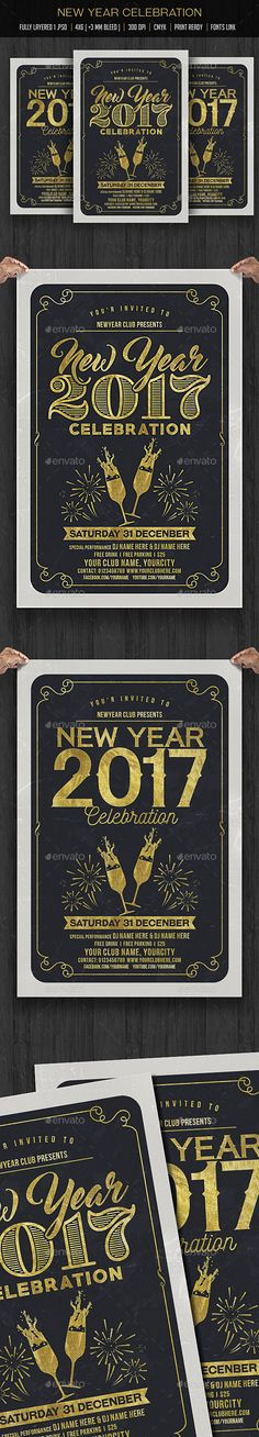 New Year Party Flyer #Template. Fully editable. #Free Download