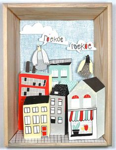 Illustration work by Dutch illustrator Kim Welling – fresh and colorful illustrations of everyday life, people, animals and hand lettering Victorian Dollhouse, Modern Dollhouse, Fun Crafts, Paper Crafts, Newspaper Basket, Make Do And Mend, Cardboard Art, Box Art, Art Boxes