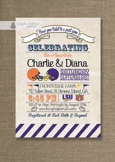 Football Rivals Couples Shower Invitation Any by digibuddhaPaperie, $28.00
