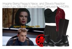 """Imagine Being Peggy's Niece, and Steve's Reaction When Fury Tells Him You've Been Captured by HYDRA"" by fandomimagineshere ❤ liked on Polyvore featuring Forever 21, Jofama, John Lewis and Dr. Martens"