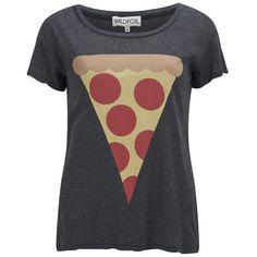 Wildfox Women's Hot Slice East T-Shirt - Black ($30) ❤ liked on Polyvore featuring tops, t-shirts, shirts, blusas, black, cartoon t shirts, relax t shirt, comic t shirts, scoop-neck tees and scoop neck t shirt