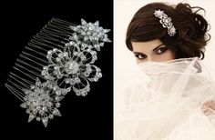 Pretty versatile comb with diamante flower design: £160.00 (W08)
