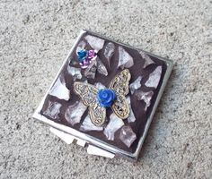 Mosaic Butterfly and Roses Make Up Mirror by PiecesofhomeMosaics