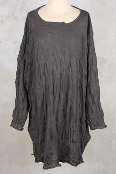Crushed Knitted Tunic Dress in Ash - Rundholz Black Label