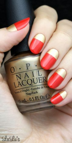 Gold and Red Holiday Nail Tutorial