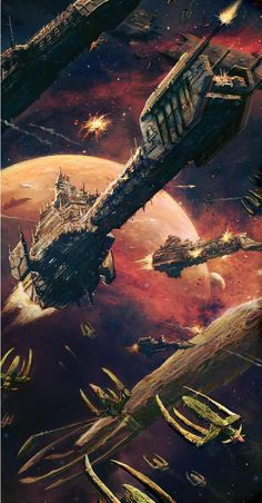 Battlefleet Gothic - Space Marines vs Tyranids more offers from the famous brands, feel free to visit: www. Warhammer 40k Art, Warhammer Fantasy, Battlefleet Gothic, Space Battles, Spaceship Art, Far Future, Science Fiction Art, Space Marine, Star Wars