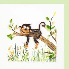 How cute is this monkey by Quilling Card!