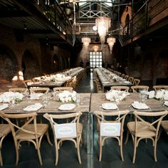 Rustic Reception Tables // photo: Cly Creation // More: http://www.theknot.com/weddings/album/a-timeless-elegant-wedding-in-long-island-city-ny-132782