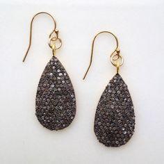 pavé diamond, 22K vermeil and oxidized sterling silver drop earrings!