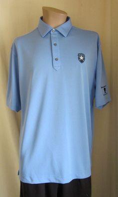 fef2a0491 FOOTJOY Men's Fit Blue BELLEAIR Logo Golf Athletic Polo Shirt L Large  #FootJoy
