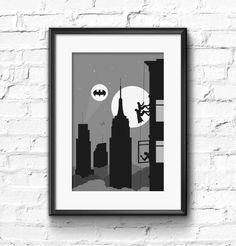 New York print, Batman Inspired print, 1966 Batman print, 1966 Batman poster, Batman climbing print, Classic Batman print, Batman poster. by SKYWORLDPROJECT on Etsy https://www.etsy.com/listing/204436748/new-york-print-batman-inspired-print