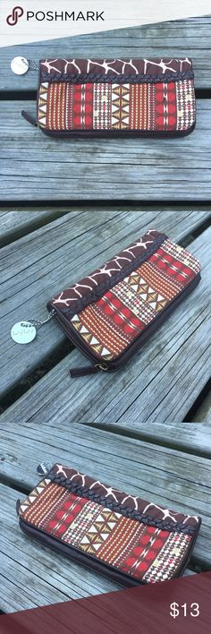 """LULU ANIMAL PRINT FAUX LEATHER FOLDOVER ZIP WALLET """"LULU"""" Silver Metal Hardware Detailing Round Circle Tag Keychain Cool Awesome Boho Country Hippy Hipster Hippie Gypsy Rustic Western Textile & Faux Leather Artisan Native Tribal Aztec Geometric Geo Wild Animal Print Brown / Red / Cream Foldover / Zip Wallet Accessory 