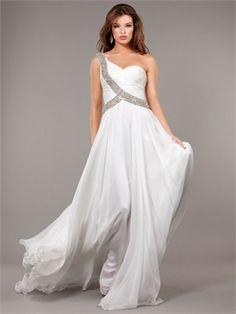 One Shoulder Beaded Strap and Bodice Chiffon Prom Dress PD11249 www.dresseshouse.co.uk $125.0000