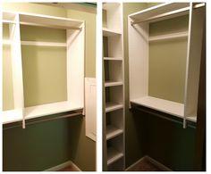 White melamine reach-in closet
