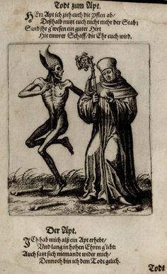Images from the History of Medicine (NLM) Subject: A page from Todten-Tanz / Danse des Morts Death dances with the pope. Thé Illustration, Illustrations, Memento Mori Art, La Danse Macabre, Maleficarum, Dance Of Death, Merian, Occult Art, Medieval Art