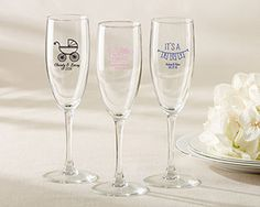 Personalized Champagne Flute  Baby Shower  Kate Aspen