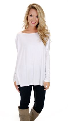 Outside The Box Top, White :: NEW ARRIVALS :: The Blue Door Boutique