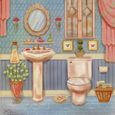 powder room ii - Sahri Warren 600 x 600 Paper Doll House, Paper Dolls, Paper Houses, Pictures For Bathroom Walls, Fairy Garden Doors, Bathroom Art, Selling Art, Illustrations, Handmade Toys