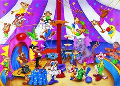 Circus Circus Art, Circus Theme, Learning Resources, Learning Spanish, Picture Comprehension, Circus Illustration, Picture Composition, Vocabulary Practice, Card Drawing
