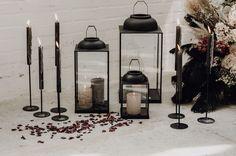 black taper candles Black Candles, Taper Candles, Wedding Chairs, Wedding Reception, Reception Ideas, Table Top Design, Bright Rooms, Wedding Dress Boutiques, Elegant Bride