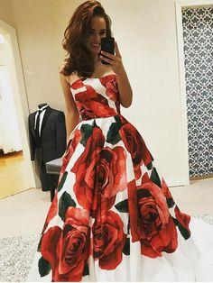 Beautiful Prom Dresses Aline Strapless Rose Floral Print Long Prom Dress JKL854