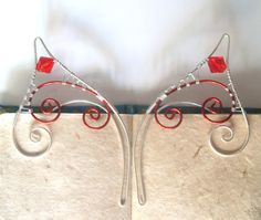 Red & Silver Plated Handmade Wire Wrapped Elf Ear by 29Moonbeams