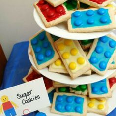 Lego cookies...square shaped sugar cookies iced with colored m&ms