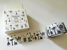 Black and White Gardening Tools Boxed Washi Tape by GoatGirlMH on Etsy