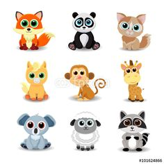 Vektor: Collection of cute animals including fox, panda, cat, pony, monkey, giraffe, koala, sheep and raccoon. Color vector illustration.
