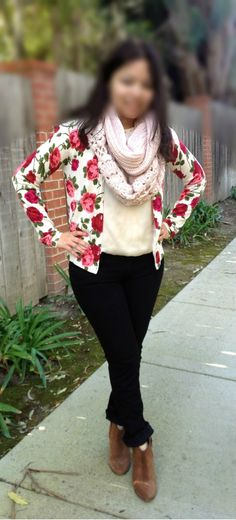 floral sweater, infinity scarf and booties