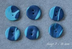 Buttons handmade in polymer clay / Fimo clay.    6 pcs. about 15 mm in diameter.      Handmade buttons are slightly different in shape and pattern.  T