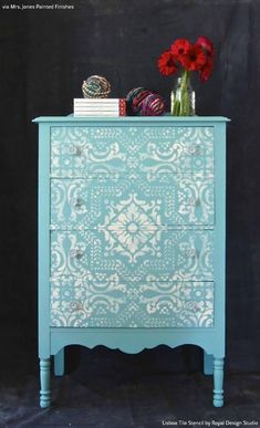 Tiffany Blue and White Chalk Paint Painted Furniture with Lisboa Tile Stencils - Royal Design Studio #paintingfurniture #repurposedfurniturethriftstores