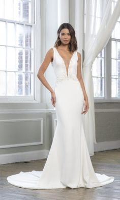 Theia Wedding Gown - Open-back crepe mermaid gown with beaded applique. Boho Wedding Dress, Dream Wedding Dresses, Designer Wedding Dresses, Bridal Dresses, Wedding Gowns, Theia Bridal, Allure Bridal, Allure Bridesmaid, Mermaid Gown