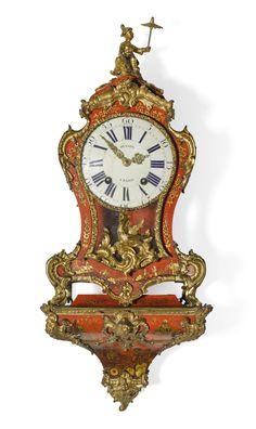 A Louis XV small ormolu-mounted red japanned bracket clock, Pierre Musson, Paris, circa 1750