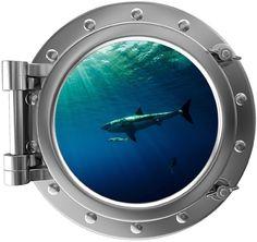 "12"" PortScape Instant Sea Window Sharks 3 Porthole Wall Decal Graphic Sticker #StickitGraphix #Novelty"